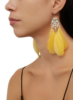 Multi Feather Rhinestone Drop Earrings - 3135074974060