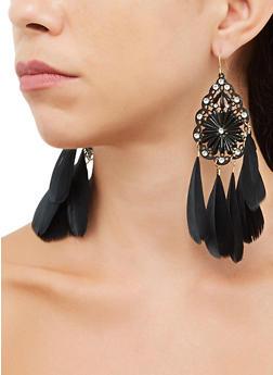 Rhinestone Teardrop Feather Fringe Earrings - 3135074974062