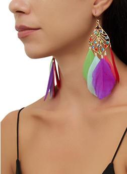 Rhinestone Multi Feather Drop Earrings - 3135074974065