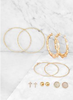 6 Large Metallic Hoop and Stud Earrings - 3135074974098