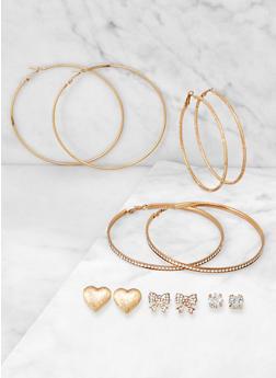 6 Assorted Textured Hoop and Stud Earrings - 3135074974101