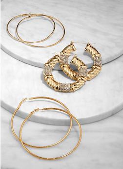 Bamboo and Metallic Hoop Earrings - 3135074974102