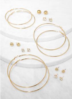 9 Assorted Stud with Hoop Earrings - 3135074974117
