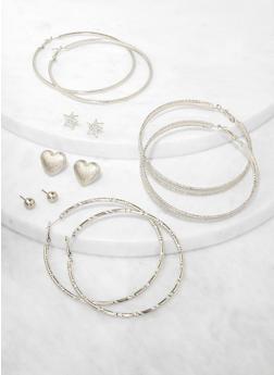 6 Assorted Star Stud and Hoop Earrings - 3135074974155