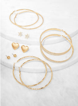 6 Assorted Star Stud and Hoop Earrings - 3135074974155