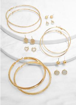 Assorted Metallic Rhinestone Stud and Hoop Earrings - 3135074974159