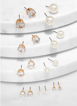 Faux Pearl and Rhinestone Stud Earrings - 3135074974162