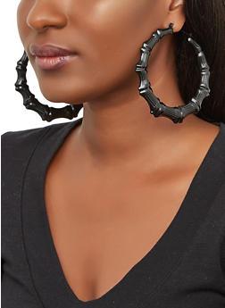 Painted Bamboo Hoop Earrings - 3135074974165