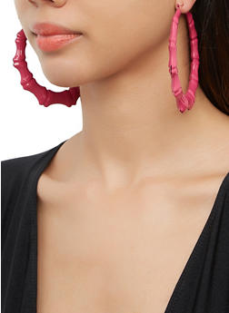 Painted Bamboo Hoop Earrings - 3135074974165