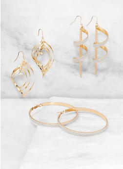 Textured Earring Trio - 3135074980199