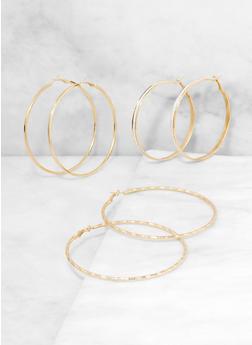 Hammered Metallic Glitter Hoop Earring Trio - 3135074980910