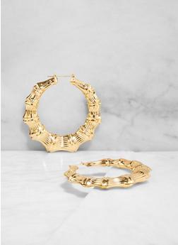 Metallic Bamboo Hoop Earrings | 3135074980913 - 3135074980913