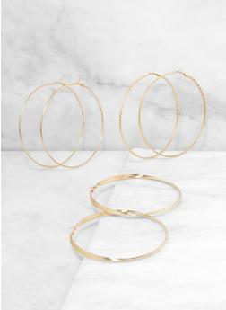 Trio of Oversized Metallic Hoop Earrings - 3135074980914