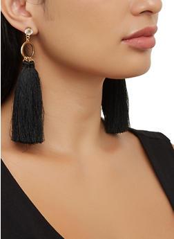 Open Circle Rhinestone Tassel Drop Earrings - 3135074981765