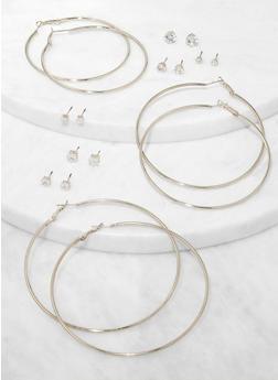 Basic Rhinestone Stud and Hoop Earrings Set - 3135074981902