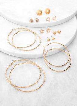 9 Assorted Star Stud and Hoop Earrings - 3135074981905