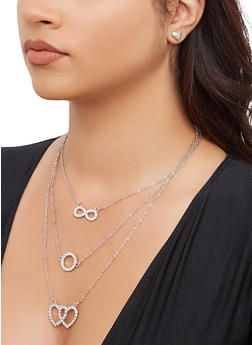 Rhinestone Charm Necklace and Heart Stud Earrings - 3135074981906