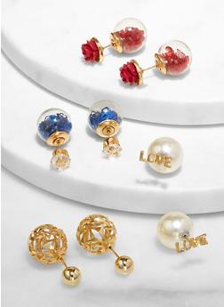 Set of 4 Reversible Stud Earrings - 3135074981907