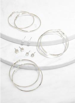 Metallic Hoop and Stud Earrings - 3135074981910
