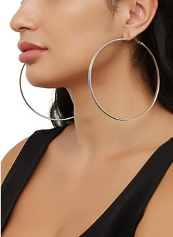 Oversized Trio of Glitter Hoop Earrings - 3135074983398