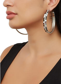 Trio of Metallic Hoop Earrings - 3135074983399
