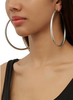 Textured Oversized Metallic Hoop Earring Trio - 3135074983400