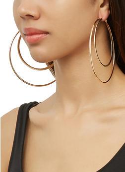 Textured Oversized Metallic Hoop Earring Trio - 3135074983400