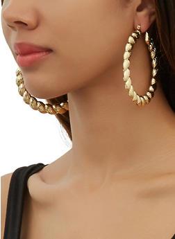 Textured Glitter Hoop Earring Trio - 3135074983401