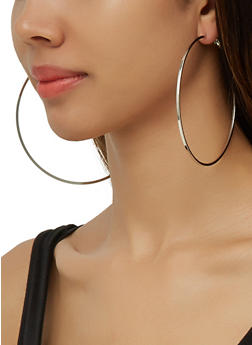 Jumbo Metallic Hoop Earrings - 3135074983408