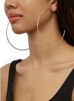 Jumbo Metallic Hoop Earrings - 3135074983408
