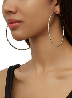 Textured Oversized Hoop Earring Trio - 3135074983409