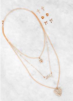Rhinestone Lock Layered Charm Necklace and Stud Earring Trio - 3135074983633
