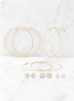 Metallic Rhinestone Stud and Hoop Earring Set - 3135074988278