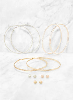 Oversized Hoop and Ball Stud Earrings Set - 3135074989041