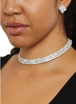 Multi Row Rhinestone Collar Necklace and Square Stud Earrings - 3138003203150