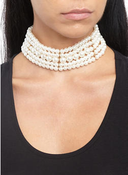Faux Pearl Choker Necklace - 3138018431094