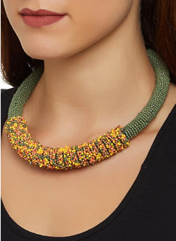 Beaded Tube Collar Necklace - 3138018432946