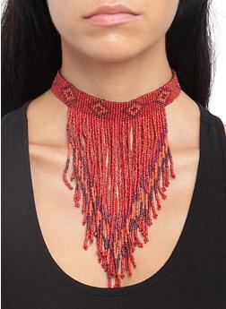 Beaded Fringe Choker Necklace - 3138018434501