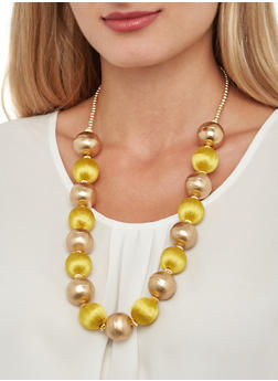 Large Beaded Necklace and Earrings - 3138018438105