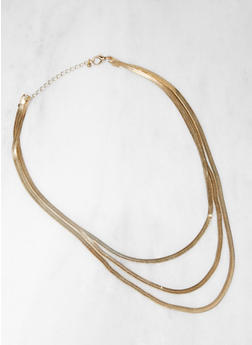 Layered Flat Chain Necklace - 3138029360637
