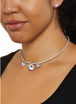 Round Rhinestone Collar Necklace with Stud Earrings - 3138029364107