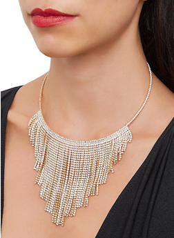 Rhinestone Metallic Fringe Collar Necklace - 3138029364109