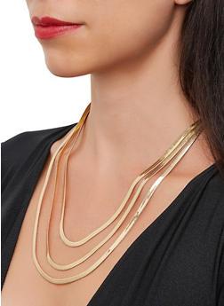 Flat Metallic Layered Necklace - 3138029367360