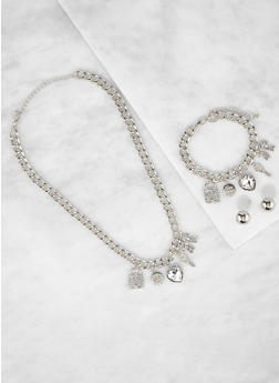 Curb Chain Charm Necklace and Bracelet with Stud Earrings - 3138035151118