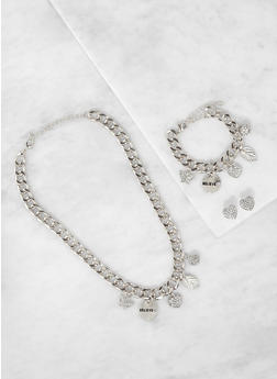 Curb Chain Charm Necklace and Bracelet with Stud Earrings - 3138035151140