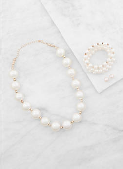 Faux Pearl Necklace with Bracelets and Earrings - 3138035151936