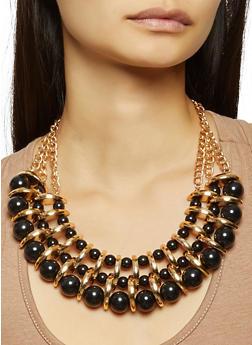 Beaded Metallic Collar Necklace and Earrings Set - 3138035153062