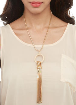 Metallic Tassel Necklace and Stud Earrings Set - 3138035155006