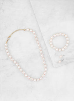 Faux Pearl Necklace with Bracelet and Stud Earrings - 3138044096354