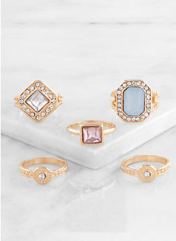 Set of 5 Metallic Statement Rings - 3138057690460